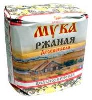 Мука ржаная деревенская цельнозерновая,  1 кг.