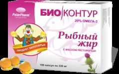 Рыбный жир с маслом расторопши, - 100капс. по 0,33г