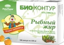 Рыбный жир  (анис, мята, эвкалипт, укроп), кап. 0,33г №100